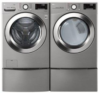 """WM3700HVA LG 27"""" 4.5 cu. ft. Ultra Large Capacity Smart WiFi Enabled Steam Front Load Washer with 6 Motion Technology and SmartDiagnosis - Graphite Steel"""