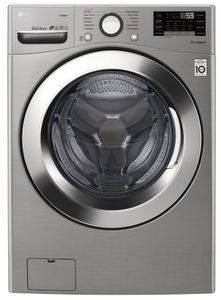 "WM3700HVA LG 27"" 4.5 cu. ft. Ultra Large Capacity Smart WiFi Enabled Steam Front Load Washer with 6 Motion Technology and SmartDiagnosis - Graphite Steel"