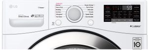"""WM3700HWA LG 27"""" 4.5 cu. ft. Ultra Large Capacity Smart WiFi Enabled Steam Front Load Washer with 6 Motion Technology and SmartDiagnosis - White"""