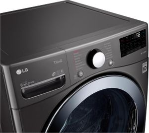 "WM3998HBA LG 27"" Front Load 4.5 cu ft. Washer and Dryer Combo with LG ThinQ Technology - Black Steel"