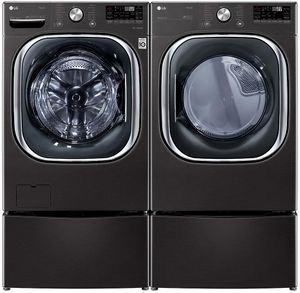 "WM4500HBA LG 27"" 5.0 cu.ft. Ultra Large Capacity Front Load Washer with Coldwash Technology and Wi-Fi Connectivity - Black Steel"