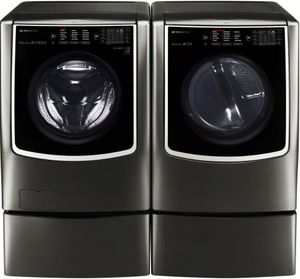 "WM9500HKA LG Signature 30"" 5.8 cu. ft. TurboWash Front Load Washer with 14 Wash Programs and Sense Clean - Black Stainless Steel"