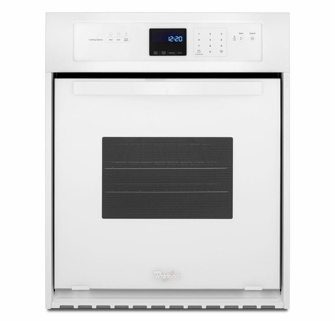 Wos11em4ew Whirlpool 24 3 1 Cu Ft Single Wall Oven With Accubake System White