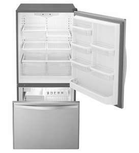 """WRB322DMBM Whirlpool 33"""" 22 cu. ft. Bottom-Freezer Refrigerator with Freezer Drawer and Factory Installed Icemaker - Stainless Steel"""