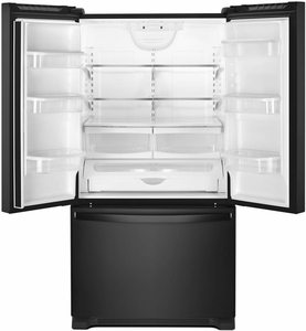 "WRF532SMHB Whirlpool 33"" 22 Cu. Ft. French Door Bottom Mount Refrigerator with Humidity Controlled Crispers and AccuChill Temperature Management - Black"