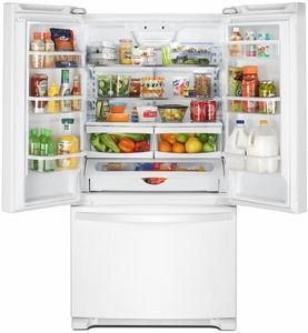 """WRF535SMHW Whirlpool 36"""" 25 cu. ft. Capacity French Door Refrigerator with FreshFlow Produce Preserve and Gallon Door Bins - White"""