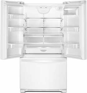 "WRF535SWHW Whirlpool 36"" 25.2 cu. ft. Capacity French Door Refrigerator with Temperature-Controlled Drawer and Interior Water Dispenser - White"