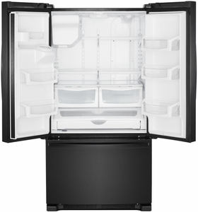 """WRF555SDHB Whirlpool 36"""" 25 Cu. Ft. French Door Bottom Mount Refrigerator with Two-Tier Freezer Storage and EveryDrop Filtration - Black"""