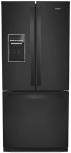"""WRF560SEHB Whirlpool 30"""" 20 cu. ft. French Door Refrigerator with Humidity-Controlled Crispers and FreshFlow - Black"""