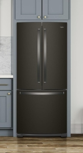 """WRF560SMHV Whirlpool 30"""" French Door Bottom Mount Refrigerator with Humidity Controlled Crispers and FreshFlow Produce Preserver - Fingerprint Resistant Black Stainless Steel"""