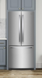 "WRF560SMHZ Whirlpool 30"" French Door Bottom Mount Refrigerator with Humidity Controlled Crispers and FreshFlow Produce Preserver - Fingerprint Resistant Stainless Steel"
