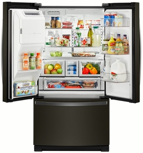 """WRF767SDHV Whirlpool 36"""" French Door Bottom Mount Refrigerator with Platter Pocket and Dual Icemakers - Fingerprint Resistant Black Stainless Steel"""