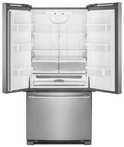 """WRFA32SMHZ Whirlpool 33"""" French Door Bottom Mount Refrigerator with Humidity Controlled Crispers and AccuChill Temperature Management - Fingerprint Resistant Stainless Steel"""