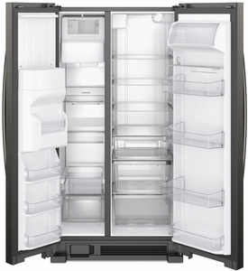 """WRS321SDHV Whirlpool 33"""" 21.4 Cu. Ft. Capacity Side-By-Side Refrigerator with LED Lighting and Built-In Ice Maker- Black Stainless Steel"""