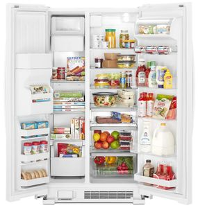 "WRS321SDHW Whirlpool 33"" 21.4 Cu. Ft. Capacity Side-By-Side Refrigerator with LED Lighting and Built-In Ice Maker - White"