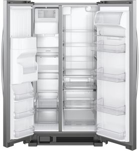 """WRS321SDHZ Whirlpool 33"""" 21.4 Cu. Ft. Capacity Side-By-Side Refrigerator with LED Lighting and Built-In Ice Maker - Stainless Steel"""