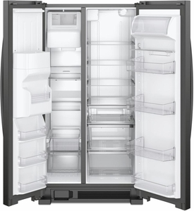 """WRS325SDHB Whirlpool 36"""" 24.6 Cu. Ft. Capacity Side-By-Side Refrigerator with LED Lighting and Built-In Ice Maker- Black"""