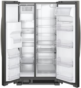 "WRS325SDHV Whirlpool 36"" 24.6 Cu. Ft. Capacity Side-By-Side Refrigerator with LED Lighting and Built-In Ice Maker - Black Stainless Steel"
