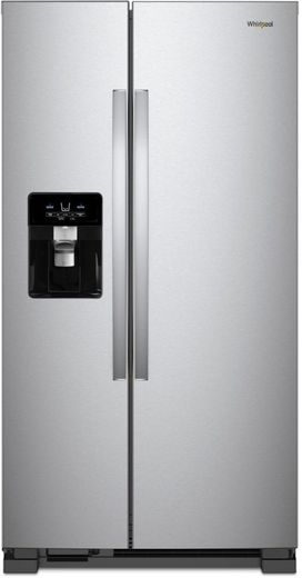 "WRS325SDHZ Whirlpool 36"" 24.6 Cu. Ft. Capacity Side-By-Side Refrigerator with LED Lighting and Built-In Ice Maker - Stainless Steel"