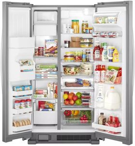 """WRS325SDHZ Whirlpool 36"""" 24.6 Cu. Ft. Capacity Side-By-Side Refrigerator with LED Lighting and Built-In Ice Maker - Stainless Steel"""