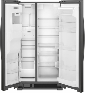 """WRS555SIHB Whirlpool 36"""" 25 Cu. Ft. Capacity Side-By-Side Refrigerator with Infinity Slide Shelf and Frameless Glass Shelves -  Black"""