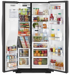 """WRS973CIHZ Whirlpool 36"""" 23 Cu. Ft. Capacity Side-By-Side Refrigerator with TotalCoverage Cooling - Fingerprint Resistant Black Stainless Steel"""
