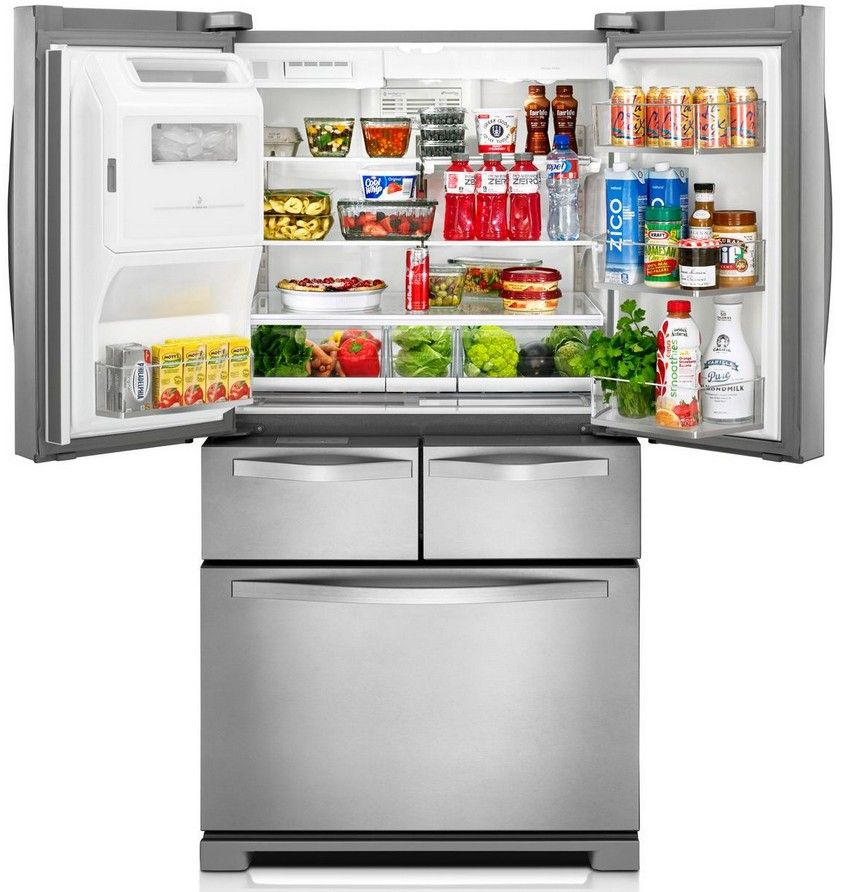 Wrv976fdem Whirlpool 36 26 Cu Ft Double Drawer French Door Refrigerator With Dual Cooling System Monochromatic Stainless Steel