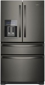 """WRX735SDHV Whirlpool 36"""" 25 Cu. Ft. French Door Refrigerator with Accu-Chill and EveryDrop Filtration - Black Stainless Steel"""