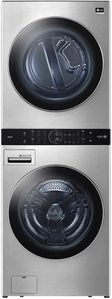 """WSGX201HNA LG 27"""" Studio Smart Ultra Large Capacity Gas Washtower with 5.0 cu ft Washer and 7.4 cu ft Dryer - Noble Steel"""