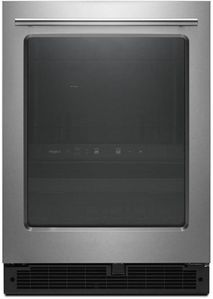 """WUB35X24HZ Whirlpool 24"""" 5.2 Cu. Ft. Undercounter Beverage Centre with LED Interior Lighting and Dual -Temperature Controlled Zone - Stainless Steel"""