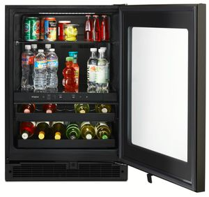 "WUB50X24HV Whirlpool 24"" Undercounter Beverage Center with LED Interior Lighting and Electronic Temperature Controls - Fingerprint Resistant Black Stainless Steel"