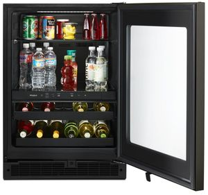 """WUB50X24HV Whirlpool 24"""" Undercounter Beverage Center with LED Interior Lighting and Electronic Temperature Controls - Fingerprint Resistant Black Stainless Steel"""
