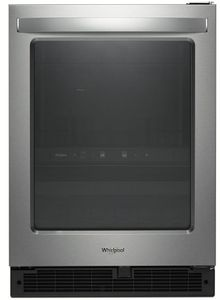 """WUB50X24HZ Whirlpool 24"""" Undercounter Beverage Center with LED Interior Lighting and Electronic Temperature Controls - Fingerprint Resistant Stainless Steel"""