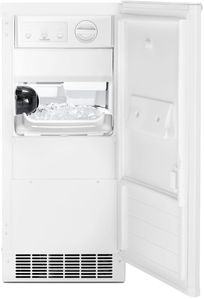 """WUI75X15HW Whirlpool 15"""" Undercounter Ice Maker with LED Interior Lighting and Clear Ice Technology - White"""
