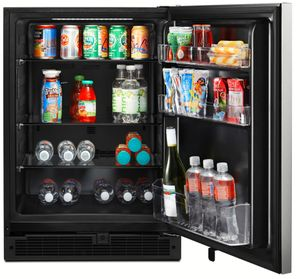 """WUR35X24HZ Whirlpool 24"""" Undercounter Refrigerator with Towel Bar Handle and Single Temperature Controlled Zone - Fingerprint Resistant Stainless Steel"""