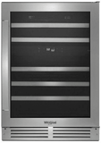 """WUW55X24HV Whirlpool 24"""" Built-In  and Freestanding Wine Cooler with LED Lighting and Compressor Cooling - Stainless Steel"""