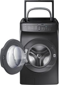 """WV55M9600AV Samsung 27"""" 5.5 cu. ft. Capacity Front Load Washer With FlexWash and SteamWash - Black Stainless Steel"""