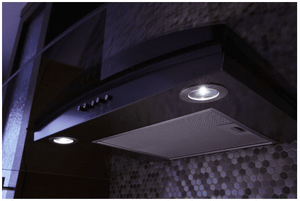 """WVW51UC0HV Whirlpool 30"""" Concave Glass Wall Mount Range Hood with LED Task Lighting and Three Fan Speeds - Black Stainless Steel"""