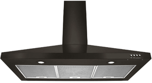 """WVW53UC6HV Whirlpool 36"""" Contemporary Wall Mount Range Hood with LED Task Lighting and Three Fan Speeds - Black Stainless Steel"""