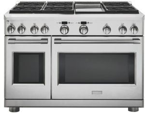 "ZDP484NGNSS Monogram 48"" Statement Collection Dual Fuel Professional Range with 4 Burners and Grill&Griddle - Natural Gas - Stainless Steel"