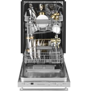 "ZDT165SILII Monogram 18"" Integrated Dishwasher with 3 Level Wash System and Piranha Hard Food Disposer - Custom Panel"