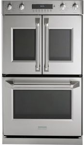 """ZET2FLSS Monogram 30"""" Professional French-Door Electronic Convection Double Wall Oven with True European Convection and Wifi Connect - Stainless Steel"""