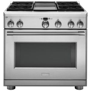 """ZGP364NDNSS Monogram 36"""" Statement Collection Professional Range with 4 Burners and Griddle - Natural Gas - Stainless Steel"""