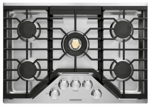 """ZGU30RSLSS Monorgram 30"""" Deep-Recessed Natural Gas Cook Top with Precision Knobs and TriRing Burner - Stainless Steel"""
