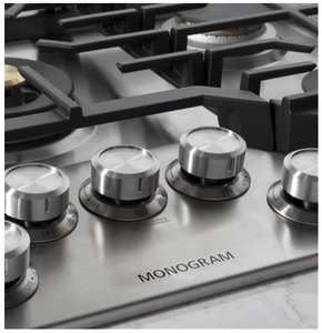 "ZGU30RSLSS Monorgram 30"" Deep-Recessed Natural Gas Cook Top with Precision Knobs and TriRing Burner - Stainless Steel"