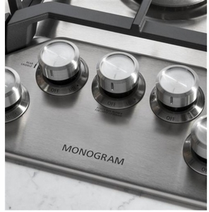 """ZGU36RSLSS Monorgram 36"""" Deep-Recessed Natural Gas Cook Top with Precision Knobs and TriRing Burner - Stainless Steel"""