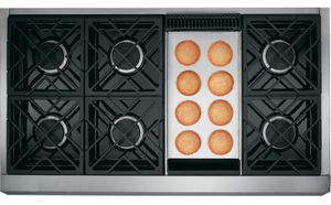 "ZGU486NDPSS Monogram 48"" Pro Style Gas Cooktop with 6 Burners and Griddle - Natural Gas - Stainless Steel"