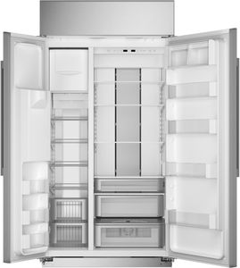 """ZISS420DNSS Monogram 42"""" Built-In Counter Depth Side-by-Side Refrigerator with LED Lighting and WiFi Connect - Stainless Steel"""