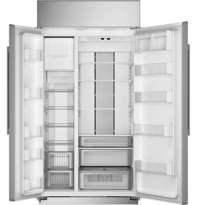 """ZISS480NNSS Monogram 48"""" Built-In Counter Depth Side-by-Side Refrigerator with LED Lighting and WiFi Connect - Stainless Steel"""