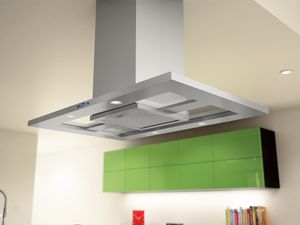 """ZMD-M90AS Zephyr 36"""" Modena Island Hood with 715 CFM Blower - Stainless Steel with Glass Canopy"""